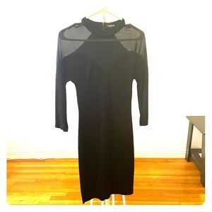 BEBE LONG SLEEVE LITTLE BLACK DRESS